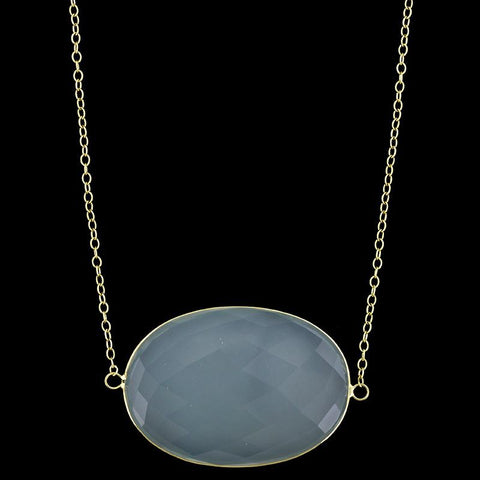 18K Yellow Gold Chalcedony Necklace