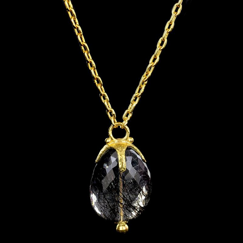 Gurhan 24K Yellow Gold Tourmalinated Quartz Pendant