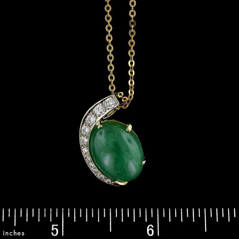 18K Yellow Gold Jadeite and Diamond Pendant
