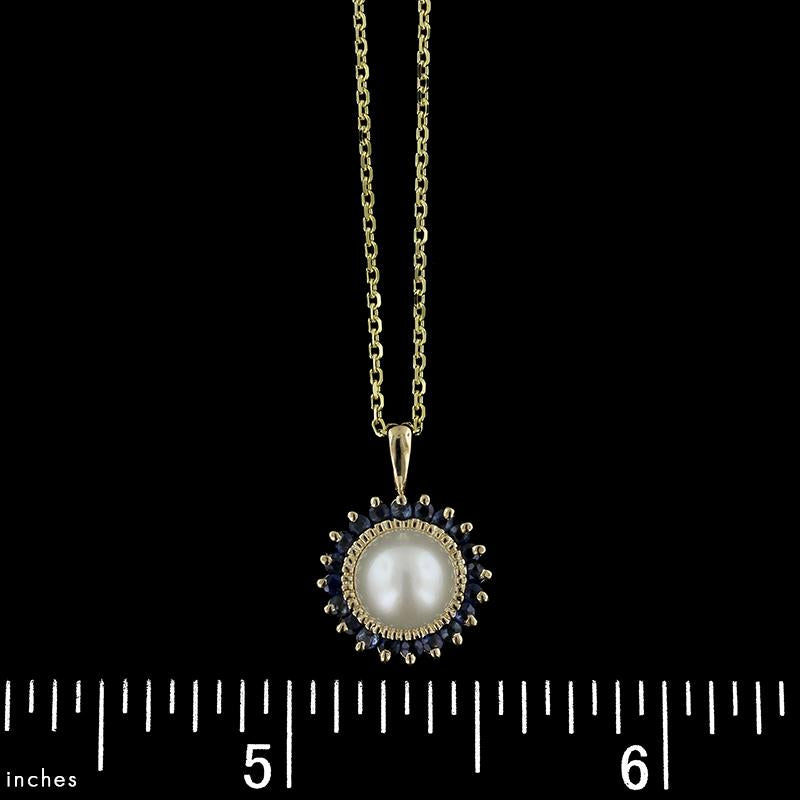 14K Yellow Gold Cultured Pearl and Sapphire Pendant