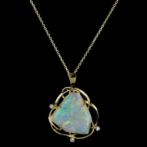 14K Yellow Gold Opal and Diamond Pendant