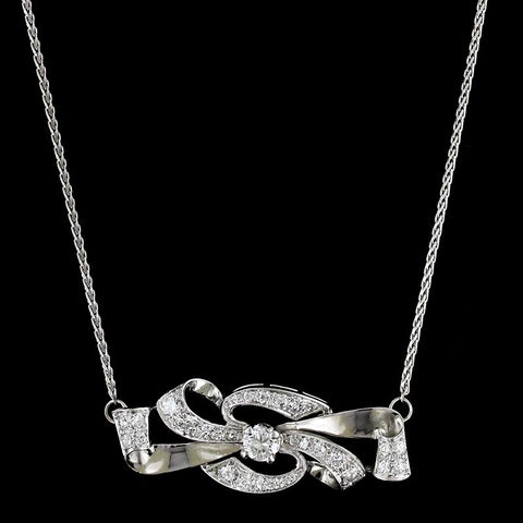 Platinum and 18K White Gold Diamond Bow Necklace