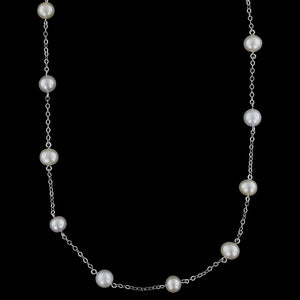 14K White Gold Estate Cultured Freshwater Pearl Tin Cup Necklace