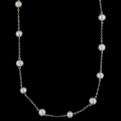 14K White Gold Cultured Freshwater Pearl Tin Cup Necklace