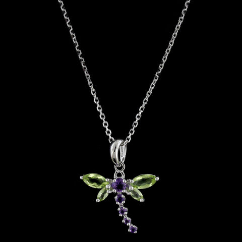 14K White Gold Peridot and Amethyst Dragonfly Pendant