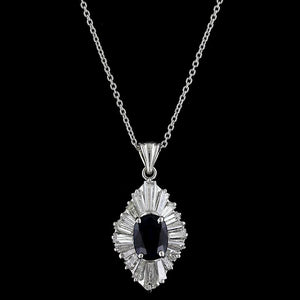 14K White Gold Estate Sapphire and Diamond Pendant