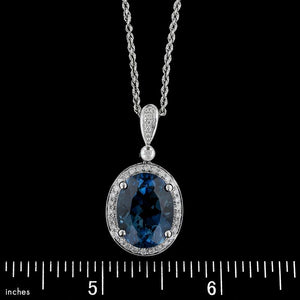 14K White Gold Estate Blue Topaz and Diamond Pendant