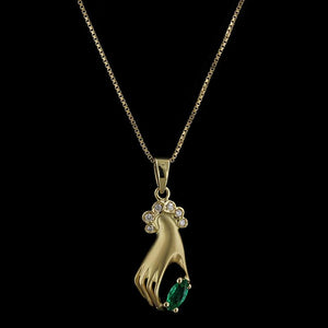 14K Yellow Gold Emerald and Diamond Hand Pendant