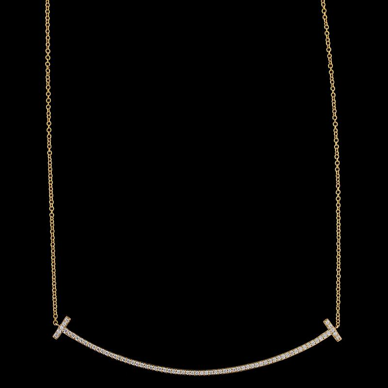 Tiffany & Co. 18K Rose Gold Diamond T Smile Necklace