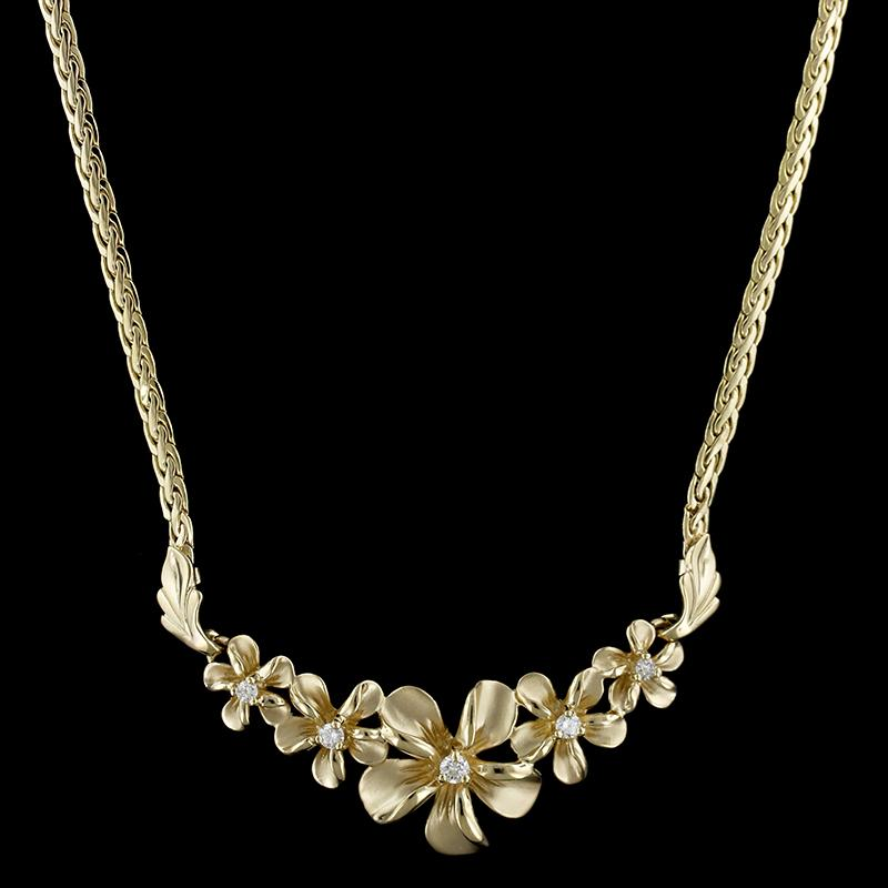 14K Yellow Gold Diamond Plumeria Flower Necklace