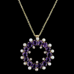 14K Yellow Gold Amethyst, Pearl and Diamond Pendant