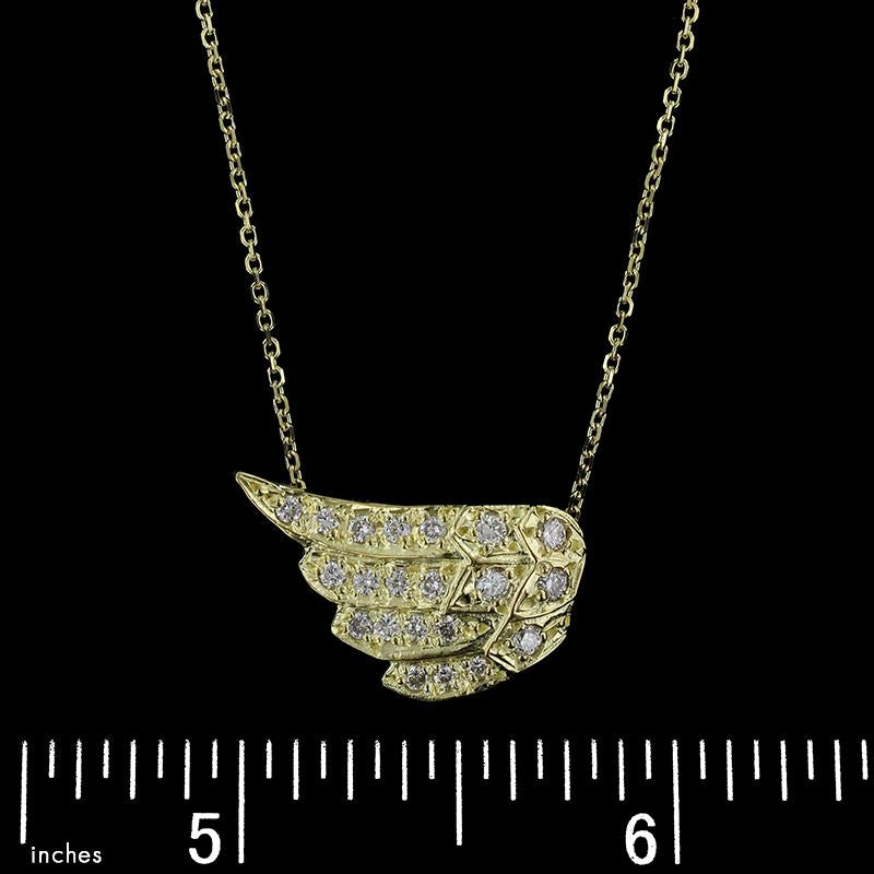 14K Yellow Gold Estate Diamond Angel Wing Pendant
