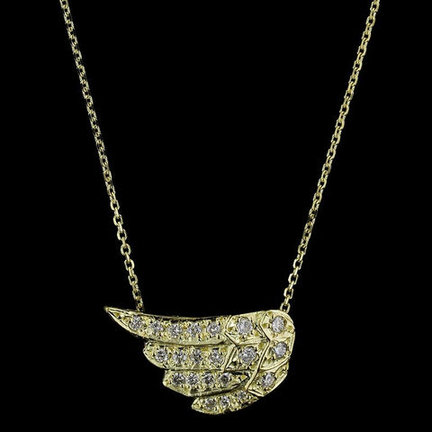 14K Yellow Gold Diamond Angel Wing Pendant