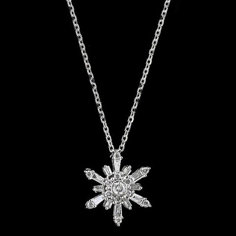 14K White Gold Estate Diamond Snowflake Pendant