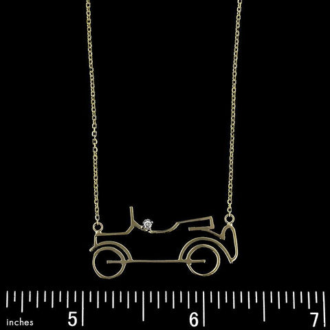 14K Yellow Gold Estate Car Necklace