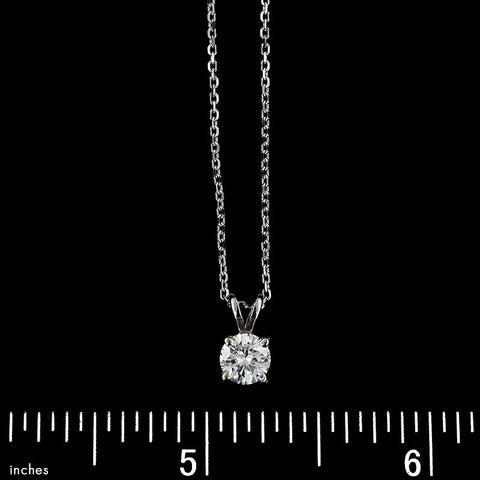 14K White Gold Estate Diamond Solitaire Pendant