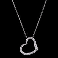 Roberto Coin 18K White Gold Diamond Floating Heart Pendant
