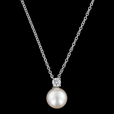 Tiffany & Co. 18K White Gold Cultured Pearl and Diamond Pendant