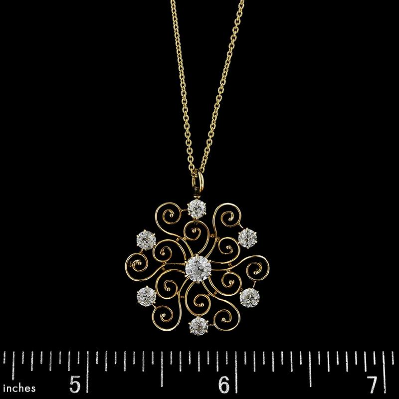 Antique 14K Yellow Gold Diamond Pendant
