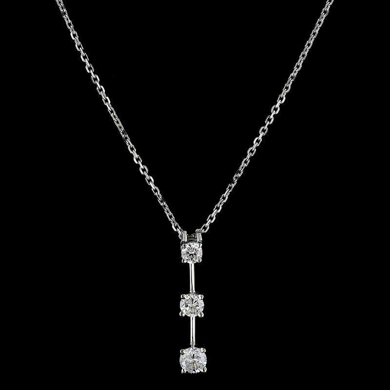 14K White Gold Estate Diamond Three Stone Pendant