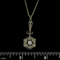 Antique 14K Yellow Gold Diamond Lavalier Pendant