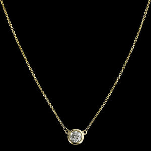 14K Yellow Gold Diamond Solitaire Pendant