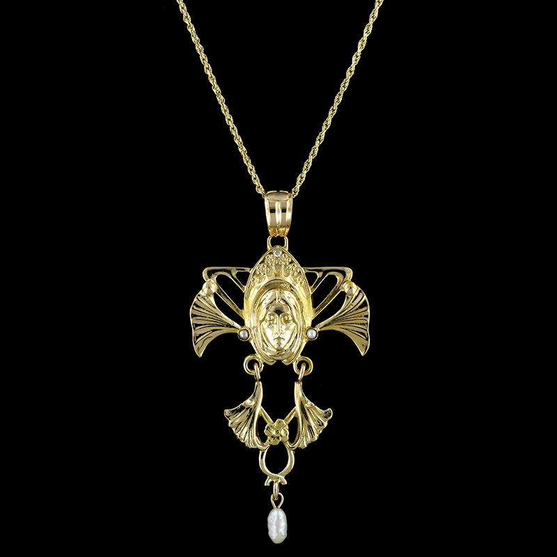 Art Nouveau Style 14K Yellow Gold Estate Cultured Pearl Pendant