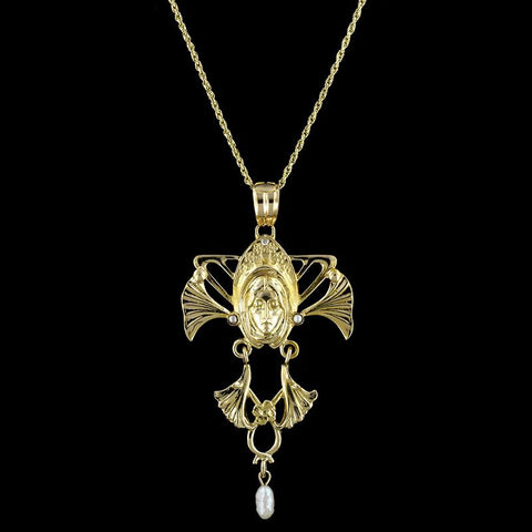 Art Nouveau Style 14K Yellow Gold Cultured Pearl Pendant