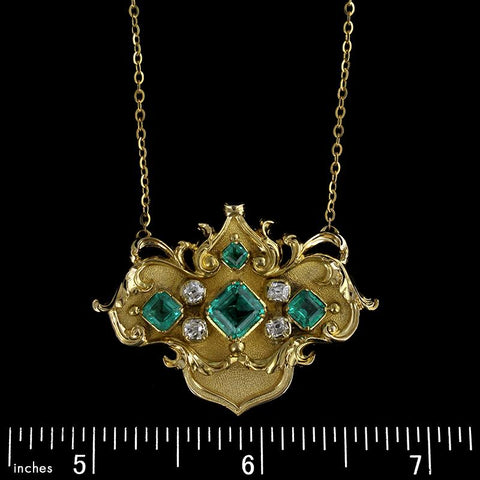 Antique 14K Yellow Gold Estate Emerald and Diamond Necklace