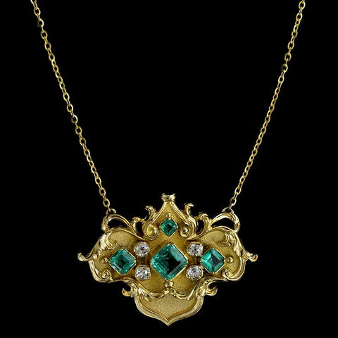 Antique 14K Yellow Gold Emerald and Diamond Necklace