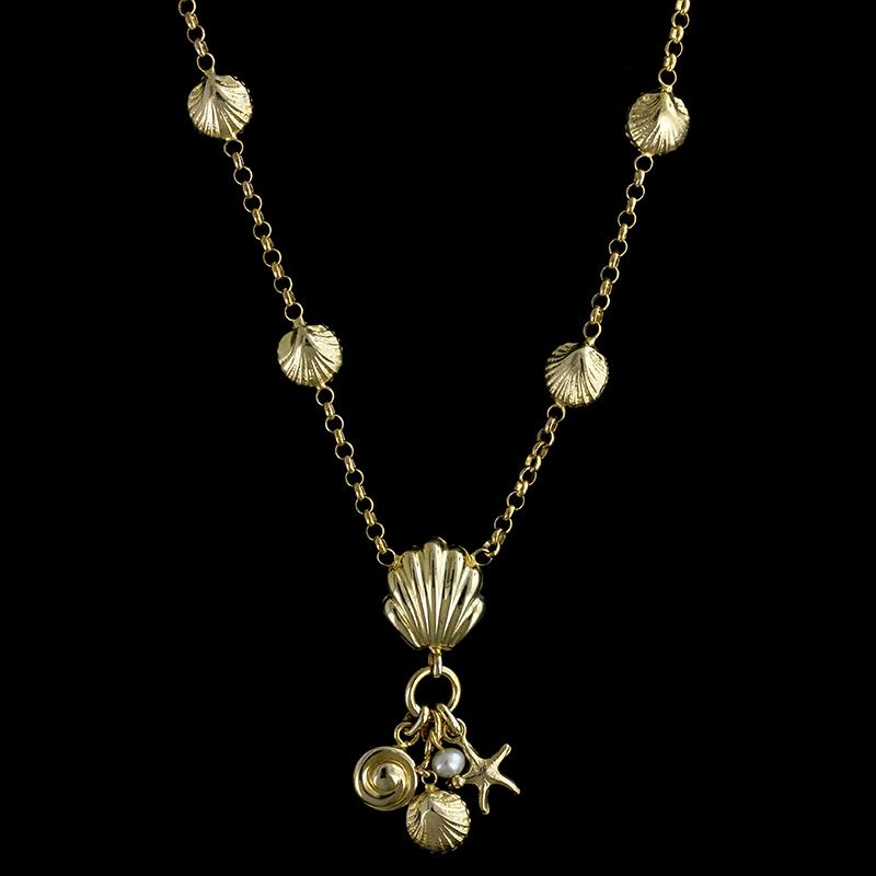 14K Yellow Gold Shell Necklace