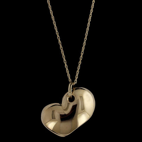 14K Yellow Gold Puffed Heart Pendant