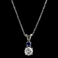 14K White Gold Estate Diamond and Sapphire Pendant