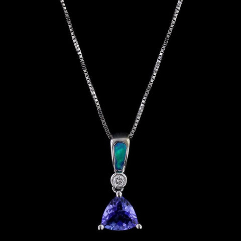 14K White Gold Tanzanite, Opal and Diamond Pendant