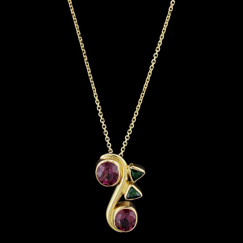 14k yellow gold garnet and tsavorite pendant longs jewelers 14k yellow gold garnet and tsavorite pendant aloadofball Gallery