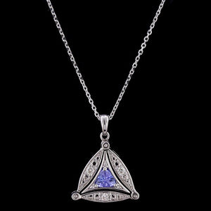 14K White Gold Tanzanite and Diamond Convertible Pendant Drop