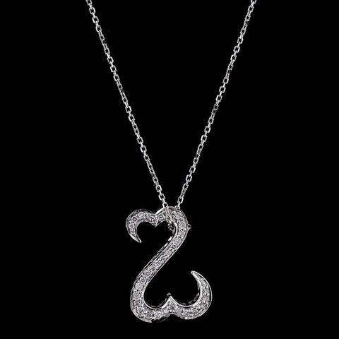 14K White Gold Open Hearts Diamond Pendant