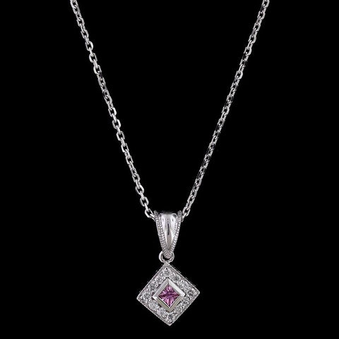 14K White Gold Pink Sapphire and Diamond Pendant
