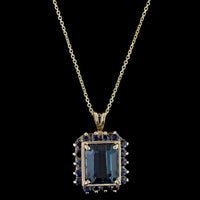 14K Yellow Gold Blue Topaz and Sapphire Pendant