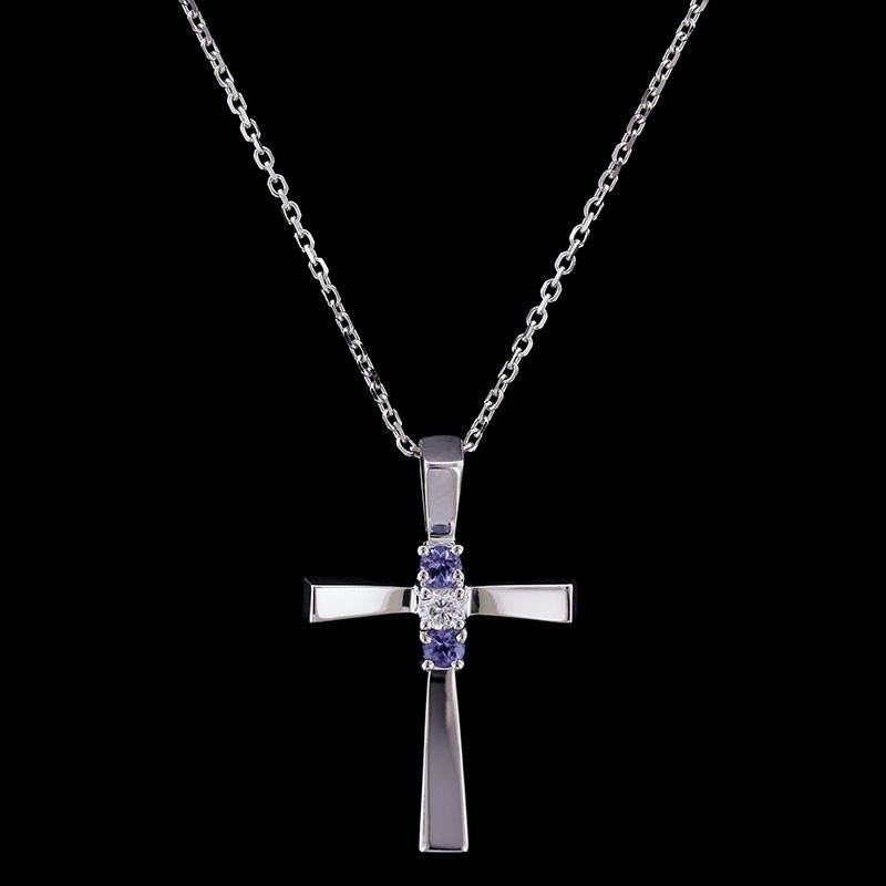 14K White Gold Tanzanite and Diamond Cross