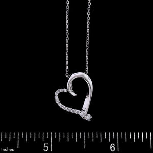 14K White Gold Estate Diamond Heart Pendant