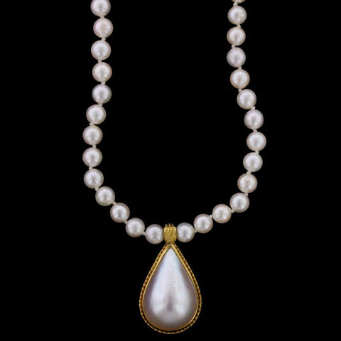 18K Yellow Gold Mabe Pearl Necklace