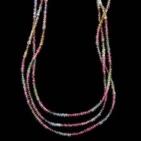 18K Yellow Gold Tourmaline Bead Necklace