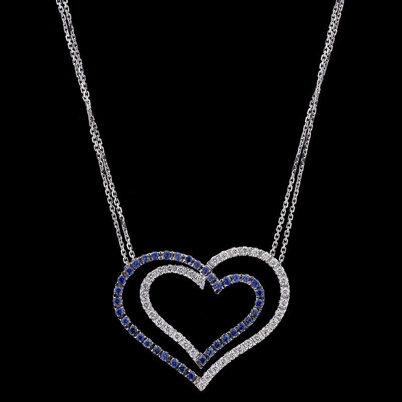 14K White Gold Estate Sapphire and Diamond Heart Pendant