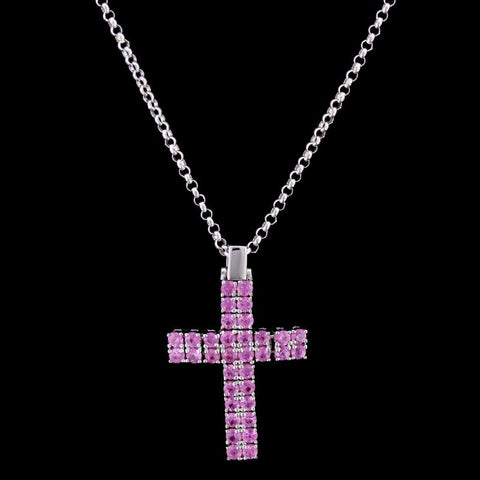 Roberto Coin 18K White Gold Pink Sapphire Cross Pendant