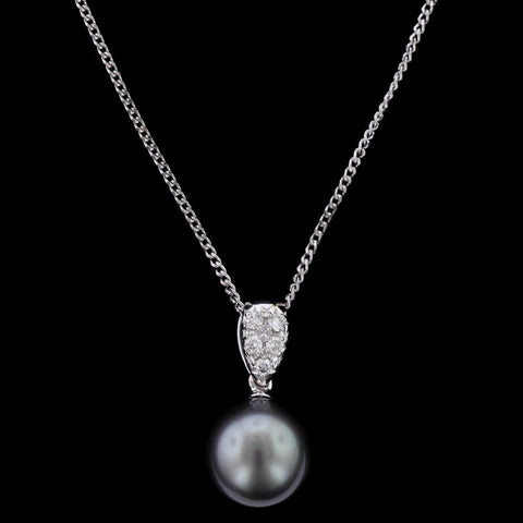 14K White Gold Black Pearl and Diamond Pendant