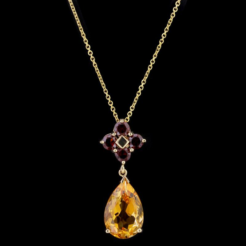14K Yellow Gold Estate Citrine and Garnet Pendant