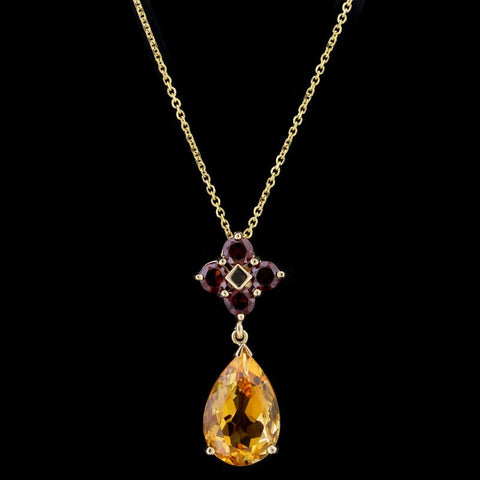 14K Yellow Gold Citrine and Garnet Pendant