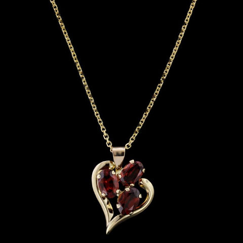 14K Yellow Gold Garnet Heart Pendant