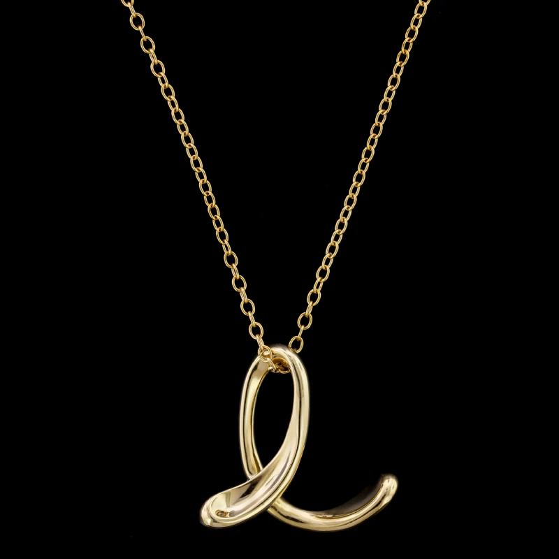 002953d96 Tiffany & Co. Elsa Peretti 18K Yellow Gold Letter E Pendant | Long's ...